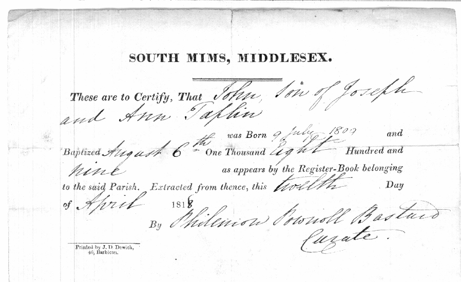 Old rare books on cd genealogy family history anguline an example of a stamped inland revenue certified entry of baptism from an 1825 baptism register size 230mm x 160mm yadclub Images